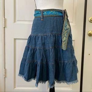 Vtg Bubblegum Raw Hem Western Skirt